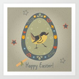Festive Easter Egg with Cute Bird Art Print