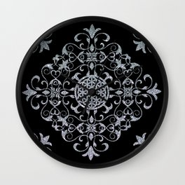 Silver Glitter Flower Of Life Design On Black Wall Clock
