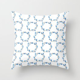 Blue and Gray Watercolor Leaf Wreath Throw Pillow