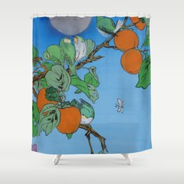 Persimmon branch moon and birds Japan Hieroglyph original artwork in japanese style J099  painting w Shower Curtain