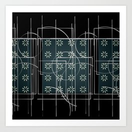 Black Green Grey Digital Daisy Abstract Art Print