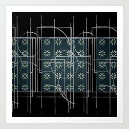 Black Green Grey Digital Daisy Abstract Art Print