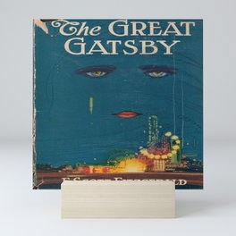 The Great Gatsby vintage book cover - Fitzgerald - muted tones Mini Art Print