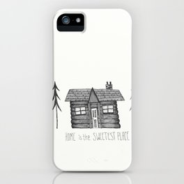 Home Sweet Home Cabin Pen and Ink Illustration iPhone Case