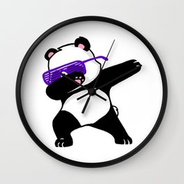 Dabbing Panda Cute Funny kids adults Dabing dane Wall Clock