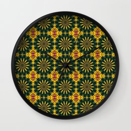 Green and Yellow Rich Colored Floral Tiled Pattern Wall Clock