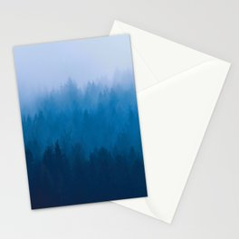 Blue Mountain Pine Trees Blue Ombre Gradient Colorful Landscape photo Stationery Cards