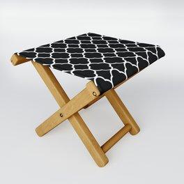 Black & White Moroccan Quatrefoil Design Folding Stool