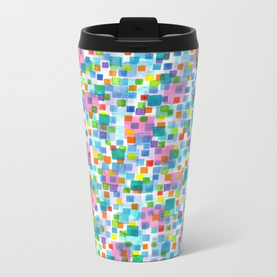 Pink beneath Square-Confetti Metal Travel Mug