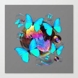 ABSTRACT NEON BLUE BUTTERFLIES & SOAP BUBBLES GREY COLOR Canvas Print