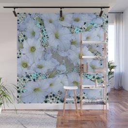 SNOW WHITE PETUNIA FLOWERS ART Wall Mural