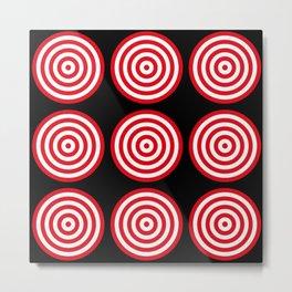 Red targets on black background Metal Print