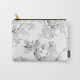 PEACOCK LILY TREE AND LEAF TOILE GRAY AND WHITE PATTERN Carry-All Pouch