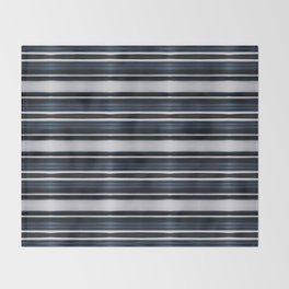 Deep Dark Blue and Silver Classy Stripes Throw Blanket