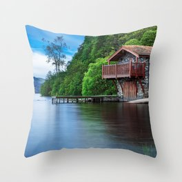 Smooth as Glass Lake and Boathouse Throw Pillow