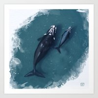 whales Art Prints featuring whales by Daniela Di Gennaro