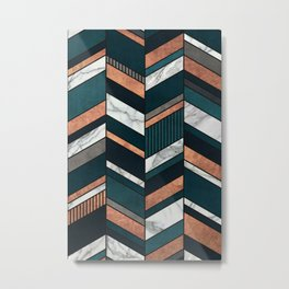 Abstract Chevron Pattern - Copper, Marble, and Blue Concrete Metal Print