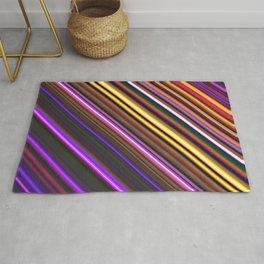 Diagonal stripes purple orange yellow red Rug