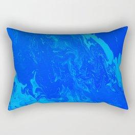 Blue Turquoise Cloud Acrylic Pour Rectangular Pillow