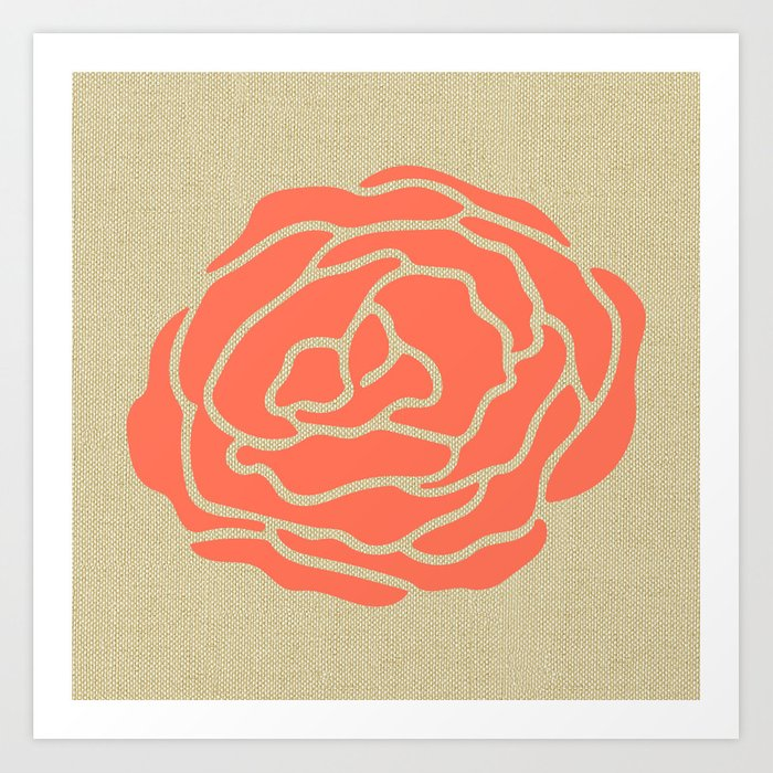 Rose Deep Coral on Linen Art Print