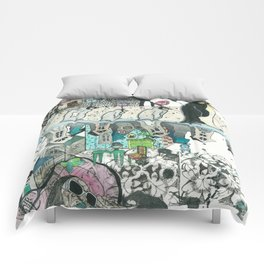 """Woman with Penguins"" Comforters"