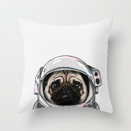 Pug Astronaut Throw Pillow