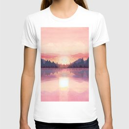 Morning Sunshine over the Peaceful Mountain Lake T-shirt