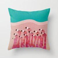 flamingos Throw Pillows featuring Flamingos by Claudia Voglhuber