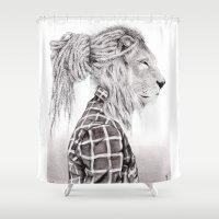 reggae Shower Curtains featuring Reggae Lion by SABIN.M