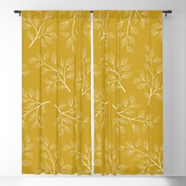 White Branch and Leaves on Mustard Yellow Blackout Curtain
