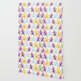 Watercolor women runner pattern Wallpaper