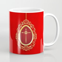 Beautiful red egg with gold cross on rich vibrant texture Coffee Mug