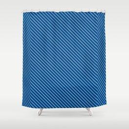 Lapis Blue Stripe Shower Curtain