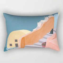 Santorini Pebble Stairs and Houses Rectangular Pillow