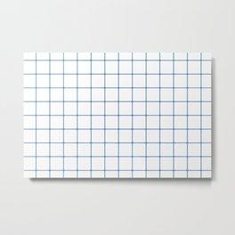 Blue White Grid Metal Print