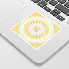 Sunshine Yellow Flower Mandala Abstract Sticker