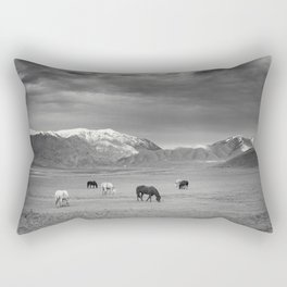 Horses in the Mountains Rectangular Pillow