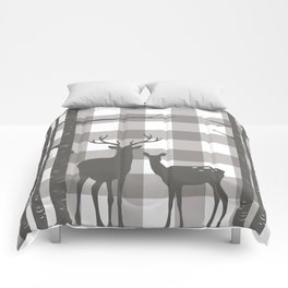 Deer & Birch Grey Plaid Comforters