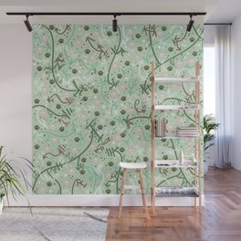 Mint Chip Paw Prints Wall Mural