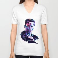 arnold V-neck T-shirts featuring Arnold Schwarzenegger: BAD ACTORS by Largetosti