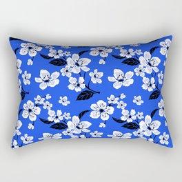 Blue Sakura Cherry Tree Flower Blooms - Aloha Hawaiian Floral Pattern Rectangular Pillow