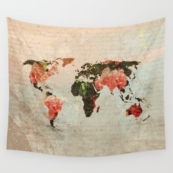 Vintage World Map Wall Tapestry By MJdesigns
