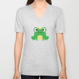 Cute cartoon frog is sitting with crown Unisex V-Neck