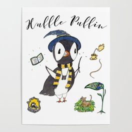 Huffle Puffin, HP, Fan Art, Puffins, Puffin, Illustration, Magic Poster