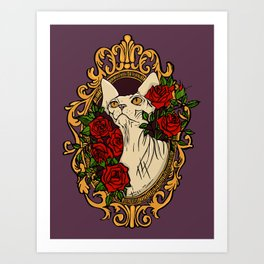 Sphynx Cat within a Baroque Frame Surrounded by Rouses Art Print