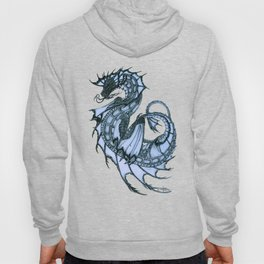 """Tsunami"" by Amber Marine ~ Sea Dragon (Ice Blue Version) ~ Graphite Illustration, (Copyright 2005) Hoody"