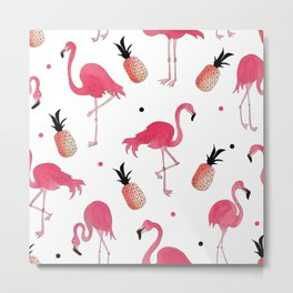 Flamingo and Pineapple Tropical Pattern Metal Print