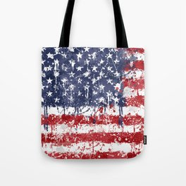 USA Flag - Messy Action Painting Tote Bag