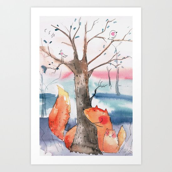 Spring foxes Art Print