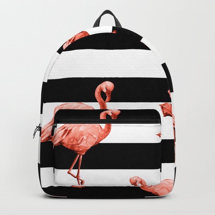 Simply Flamingo Deep Coral on Midnight Black Stripes Backpack